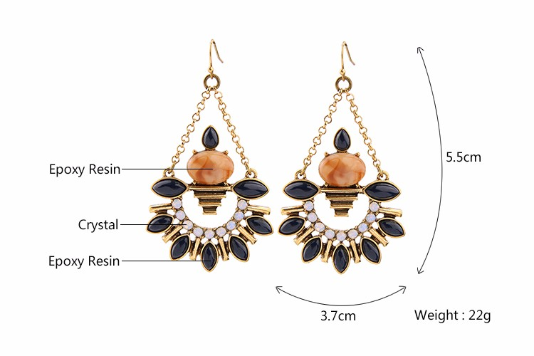 Latest hanging colored rhinestone earrings for girls