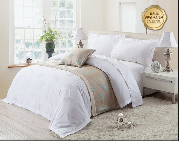 comforter jacquard white luxury hotel sheets bed bedding set 100% cotton