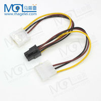 Double 4pin to 6pin IDE Cable Graphics Card Power Adapter Cable