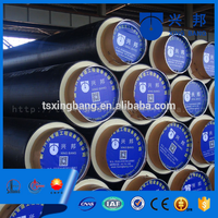 black pre insulated steel pipes/tubes with pu foam filling and hdpe casing for underground hot water pipeline construction