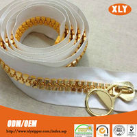 Shiny garment accessory giant zipper big zipper heavy duty gold plastic zipper