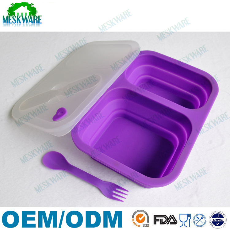FDA approval BPA free 2 Compartments FDA/LFGB Collapsible Silicone Lunch Box