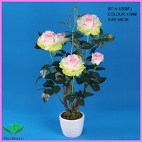 wholesale 2014 new design 56cm 5 heads potted decorative artificial flower rose