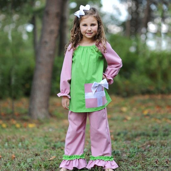 Unique design toddler girls 2pcs matching clothing set western girls christmas gift outfit