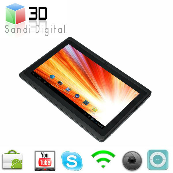 tabelt pc 7 inch tablet PC Q88 CPU Allwinner A13 ram 512 mb flash 4GB ultrathin Android 4.0 mini laptop