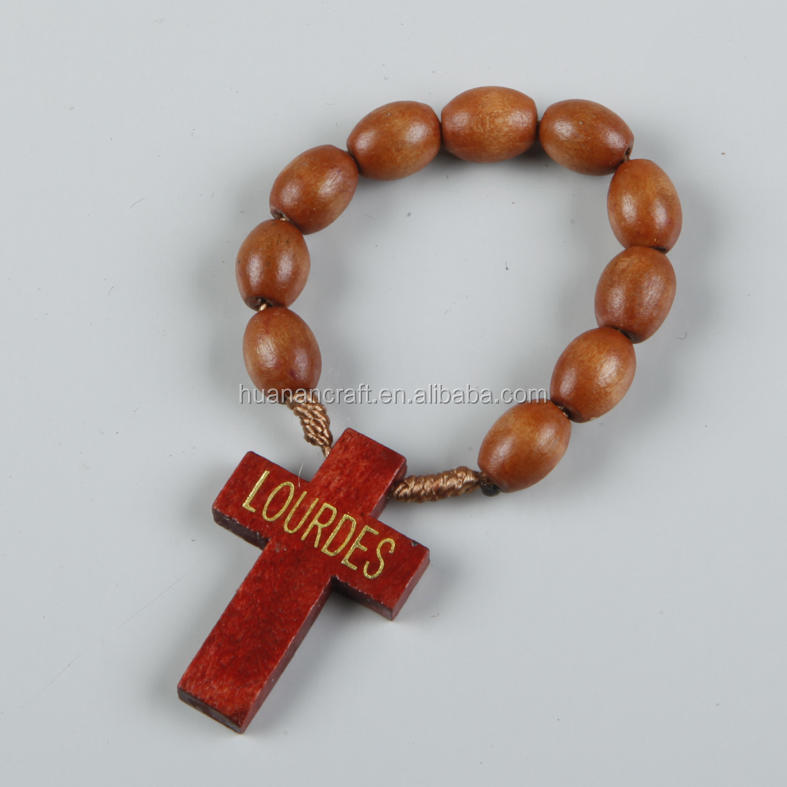 Religious gifts 6mm coffee color small wood cross finger rosary
