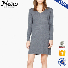 2015 Gray Cotton Women Long Sleeve Custom Logo Shift Winter Dress