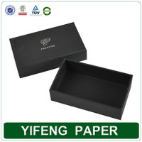wholesale rigid empty metallic hot stamping logo black gift packaging box made of textured fancy paper
