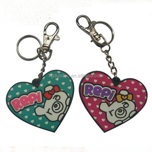 personalized human heart shaped soft pvc rubber metal keychain