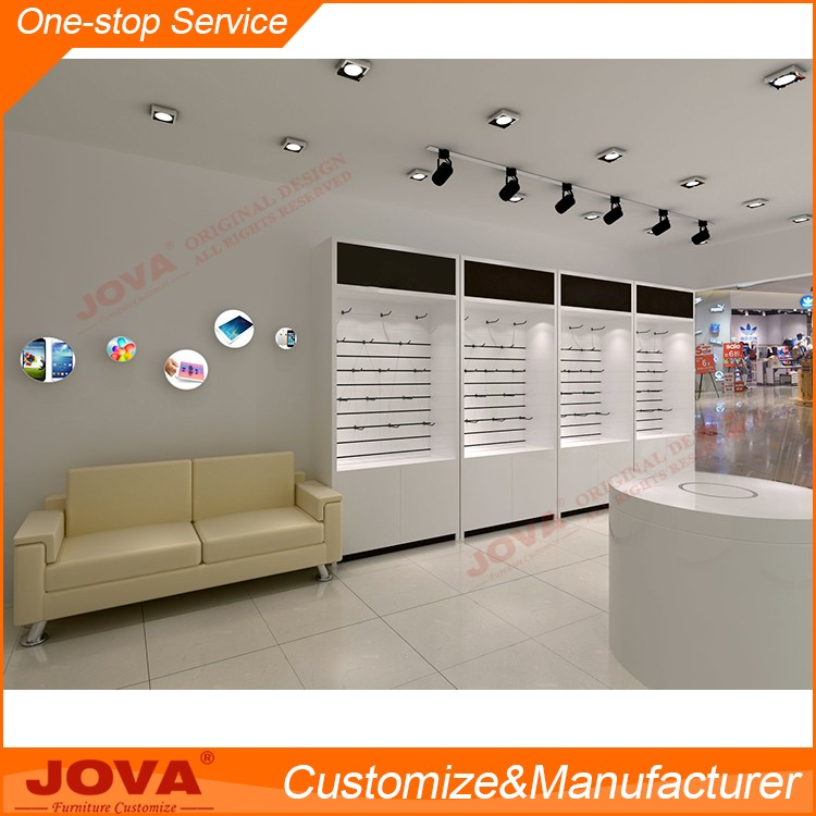 White MDF cell phone display showcase cabinet furniture design for mobile shop counter