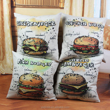 Wholesale Pillow Delicious Crayon Hamburger Pillow Case Cushion Decorative Home Embroidery cubierta de la funda de almohada