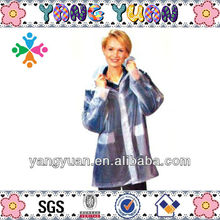 women's clear pvc blue colour pink flower pattern waterproof long raincoat