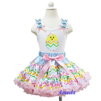 Easter Pastel Chevron Pettiskirt Plus Egg Chick White Tank Top 1-7Y