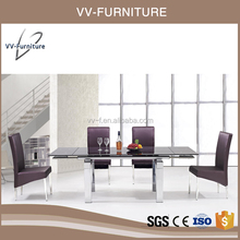 black glitter glass extendable stainless steel designs dining table