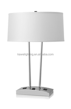 2016 hotel table lamp with power outlet Shiny Nickel Finish for UL ETL