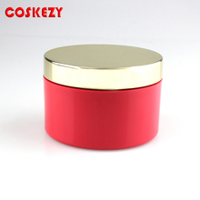 Gold Aluminum Lid 150ml PET Red plastic jars, 150ml Empty Packaging Thick Wall Hair Cosmetic Jar