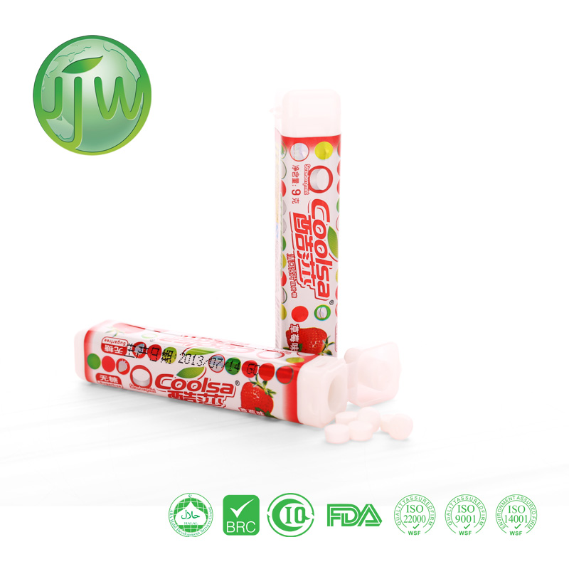 Coolsa/OEM sugar free fruit and mint compressed hard candy:9g per plastic case