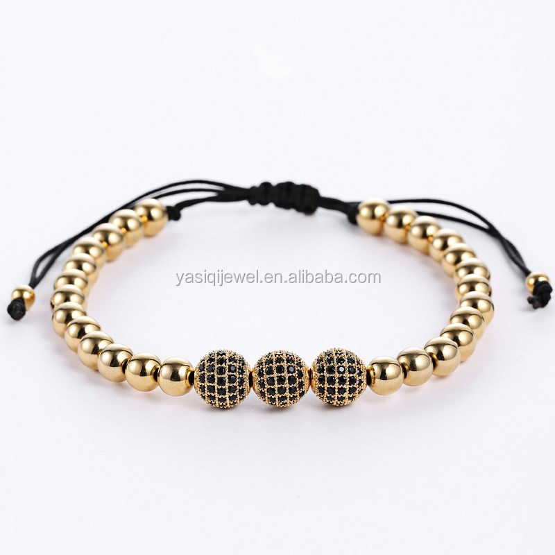 cz diamond charms stainless steel beads bracelet men