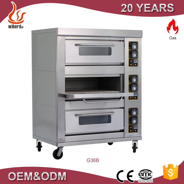 Gas Conveyor Pizza Bakery Machine 3 Deck 6 Tray Oven From Ovens Factory