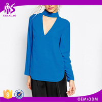 2016 Guangzhou Shandao New Arrivals Autumn Casual Wear Women Long Sleeve Loose High Round Neck Blue Chiffon Blouse Design Images