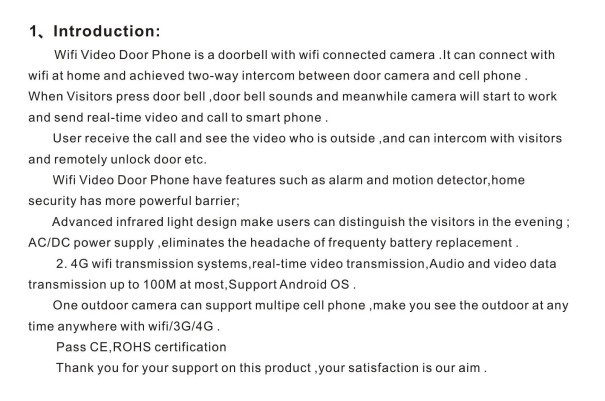 FDL-WFK12 wifi video intercom doorbell with electronic lock and RFID card,offer App free of charge
