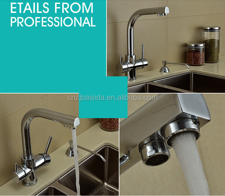 Dual handles dual aerators brass 3 ways drinking water faucet for RO pure water