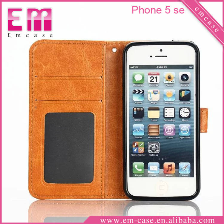 PU Credit Card Case For iPhone SE, Mobile Wallet Phone Case For iPhone SE, For iPhone SE Leather Case