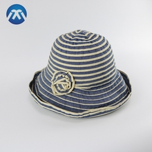 Holiday Women Folding Outdoor Hat Sun Bucket Hat With Flower