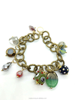 New Popular Bohemian Chain Bracelet with Hanging Jade and Crystal