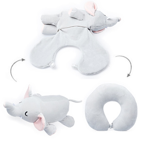 Car Sleeping Accessories Elephant Animal Shape Reversible Travel Neck Pillow for Airplane