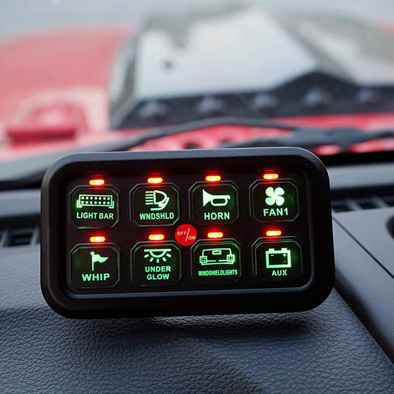 8 Gang LED On-off Car Control Switch Panel with Wiring Harness and Label Stickers