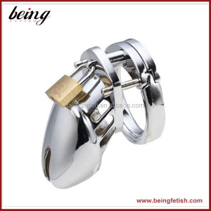 Sliver Male Chastity Lock Latest Device Cock Ring Penis Sleeve Cage Sex Toys for Men SM Game