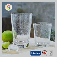 Hand-blown textured bubble glass tumbler