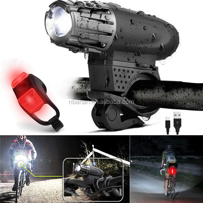 Waterproof USB Rechargeable LED Bicycle Bright Bike Front Headlight and Bike Light Rear Tail Light Set Warning Light