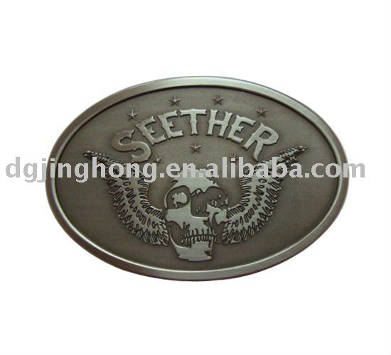 Pewter color of zinc alloy belt buckle with 3D pattern (80*54*3mm)