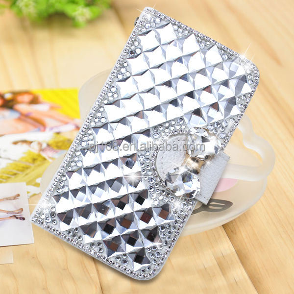 Small MOQ Wholesale Diamond Bling Flip Leather Case for Samsung Galaxy S3 I9300