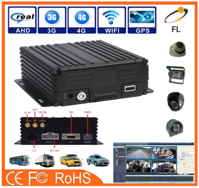 AHD 4 Channels High Definition 4G GPS Wifi 8ch Car Mobile DVR/NVR for Taxi School Bus Police Truck solution