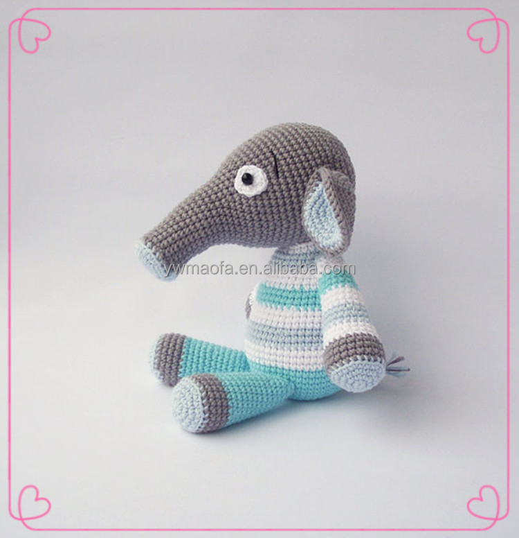 Wholsesale Baby Crochet Amigurumi Elephanet Stuffed Toys 100% Handmade Animal Toy