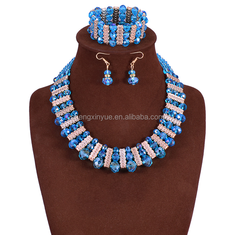 2016 Cheap Crystal Beads Indian Bridal Fashion Jewelry Sets Wholesale Price