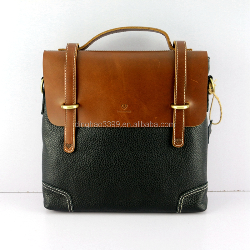 China supplier low price fashion men black genuine leather briefcase