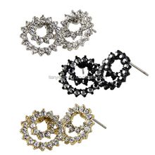 silver and gold plating artificial diamond earrings stud