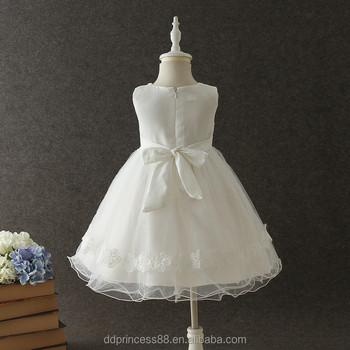 2018 cheap summer flowers mesh dress white baby girl wedding dress