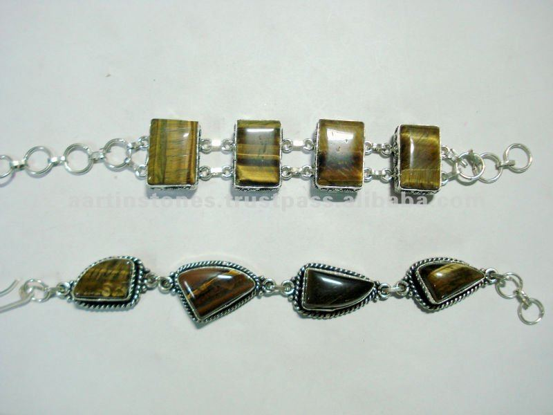 Tiger eye Gemstone Metal bracelet