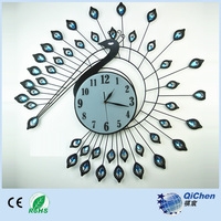 Peacock Wall Clock Big Size Metal Wall Clock with Diamonds for Home Decoration