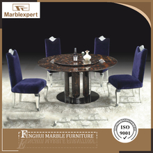 Pictures of round rotating marble dining table set