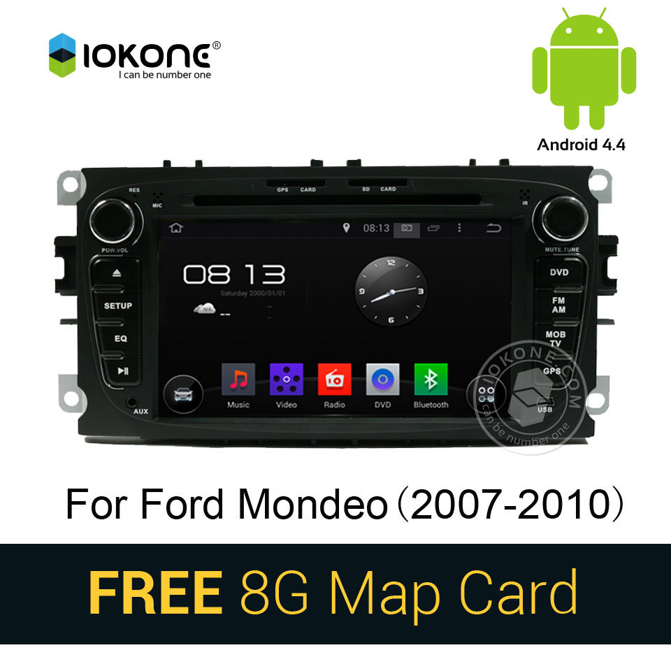 Android 4.4 pure 3g wifi car dvd stereo radio player with gps navigation for Ford Mondeo 2007-2010