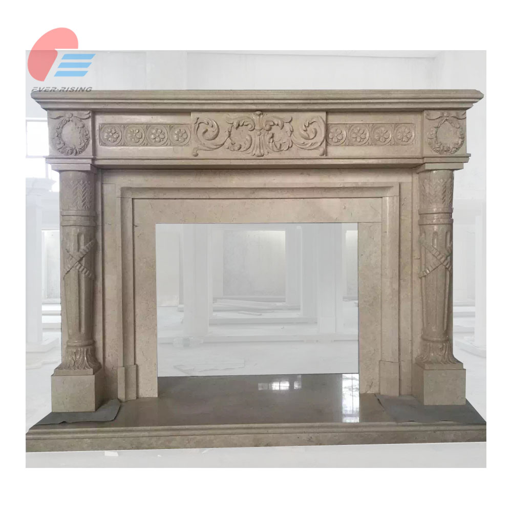 Indoor Yellow marble fireplace mantel with carving