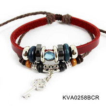 Magnetic beads key pendant vintage cheap mens leather bracelets jewelry