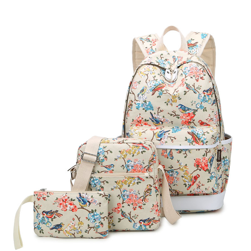 Winner Brand Women Canvas Set Backpack School Bags for Teenage Girls Travel Bag Laptop Bird and Floral Printing Backpack 3pcs