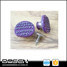 Light purple enamel cover embossed customized logo new jeans button/ children clothing jeans button